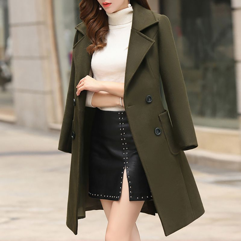 2019 Casual Woolen Outwear Solid Overcoat Women Long Sleeve Turn-down Collar Jacket Autumn Winter Wool Blend Coat