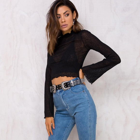 Fashion Women's Summer Loose Top Long Sleeve Tee Ladies Casual Mesh Tops Sexy 2018 Solid Black and White T Shirt