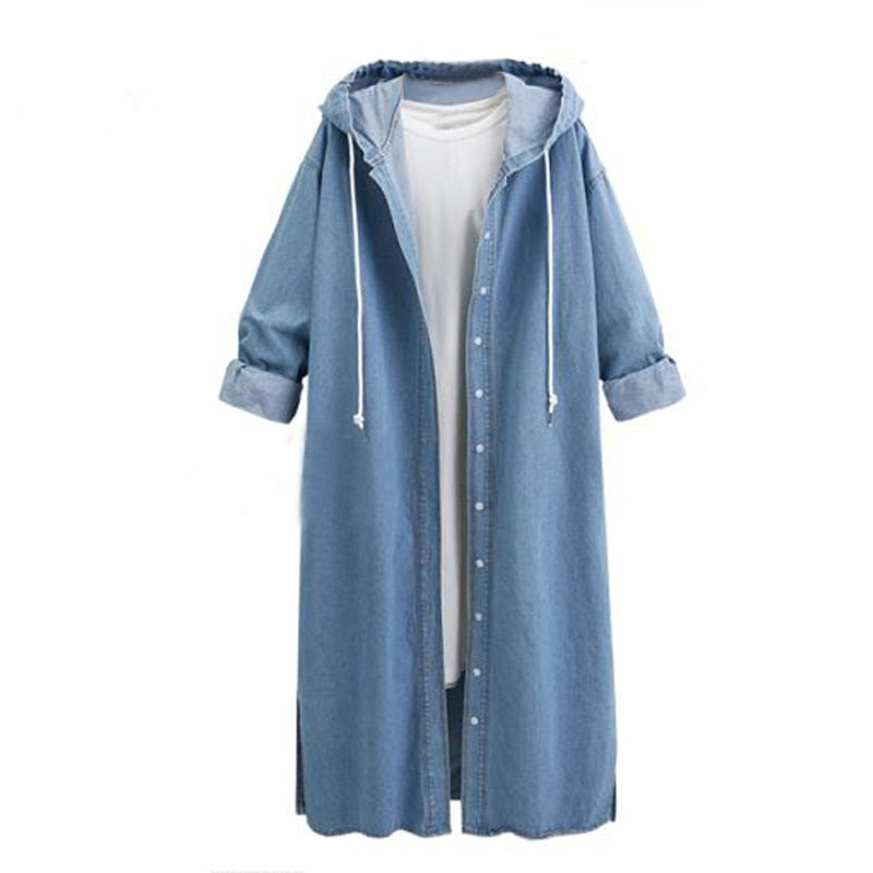 Femael Fashion Loose Long Sleeve Hooded Denim Jacket Coat Ladies Casual Buttons Long Jean Coat Cardigan Outwear Tops