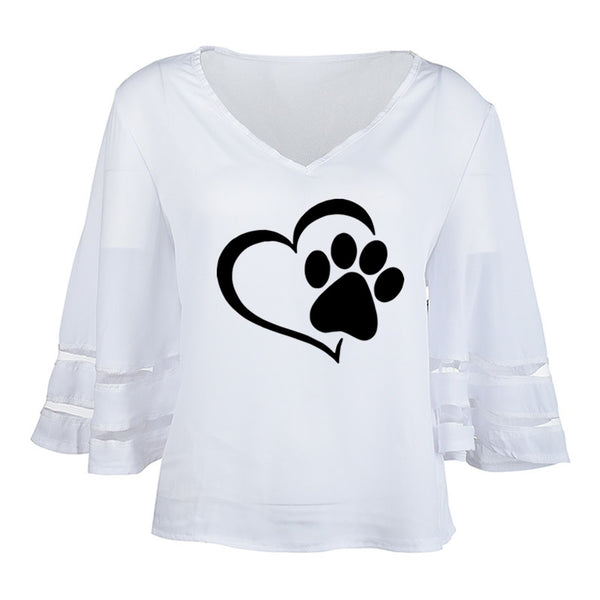 2019 Dropshipping New Fashion Dog Paw Print Women Sexy V-neck Splicing Hollow Plus Size T-Shirt Female Tops Half Sleeve Shirts