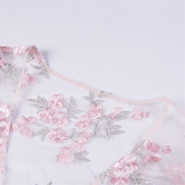 Fashion Transparent Embroidery Lace Up Bandage Pink Floral Crop Tops