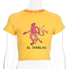 Cartoon Devil Print Summer Knitted O-neck  t-shirt
