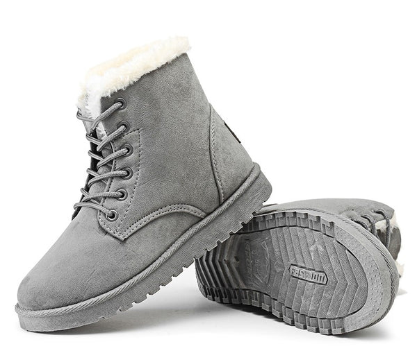 Classic Women Winter Boots Suede Ankle Snow Boots