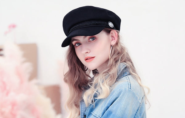 Winter Berets Hats For Women Octagonal Cap Wool Button Rope Visor Baseball Caps Female Casual Streetwear Baker's Boy Hat Gorras