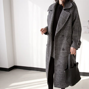 Thick Plaid Elegant Coat Woolen Streetwear Warm Windbreaker New Women Trench Fashion Long Female Plus Size Overcoat