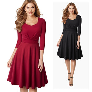Vintage Female Square Collar Skater Business Work Dress Classic Solid Color Fit and Flare Office Party Dress EA132