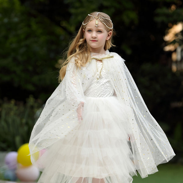 Girls Mesh Cloak Tulle Children Elsa Cape Baby Kids Girls Princess Birthday Party Cosplay Costume for Christmas Halloween Gifts