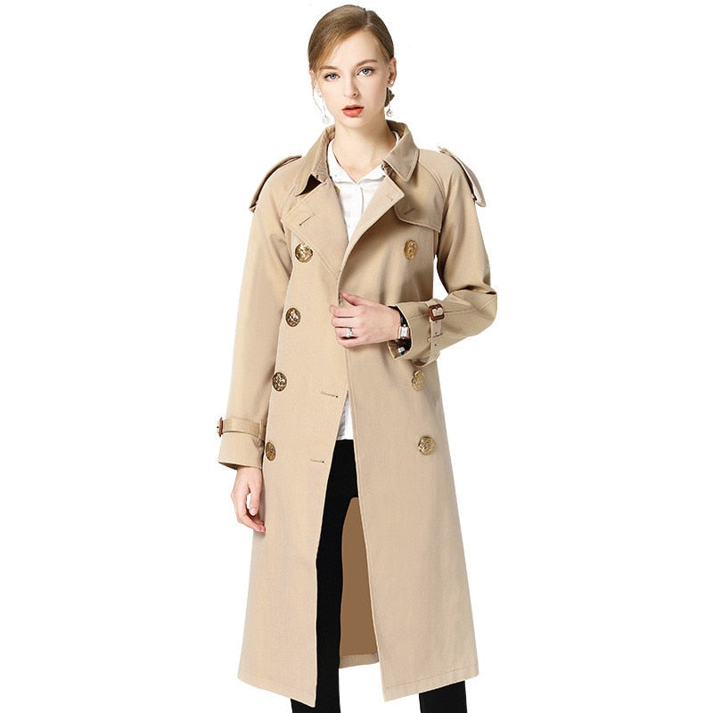 High quality Trench Coat Women Spring Autumn Belt Double-breasted Windbreaker Female Lengthen Coat New Fashion Khaki Trench 2373