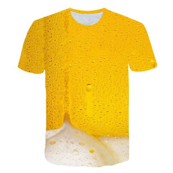 Novelty Fruits Food 3D t shirt Men Cans of Beer Printed Hip Hop Crewneck short Sleeve Men/Women t-shirt tee tops Wholesale