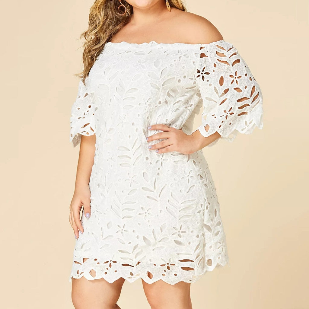2019 White dresses Women Plus Size Lace Slim Dress ladies Elegant Halter Collar Party mini plus size Dress vestidos New fashion