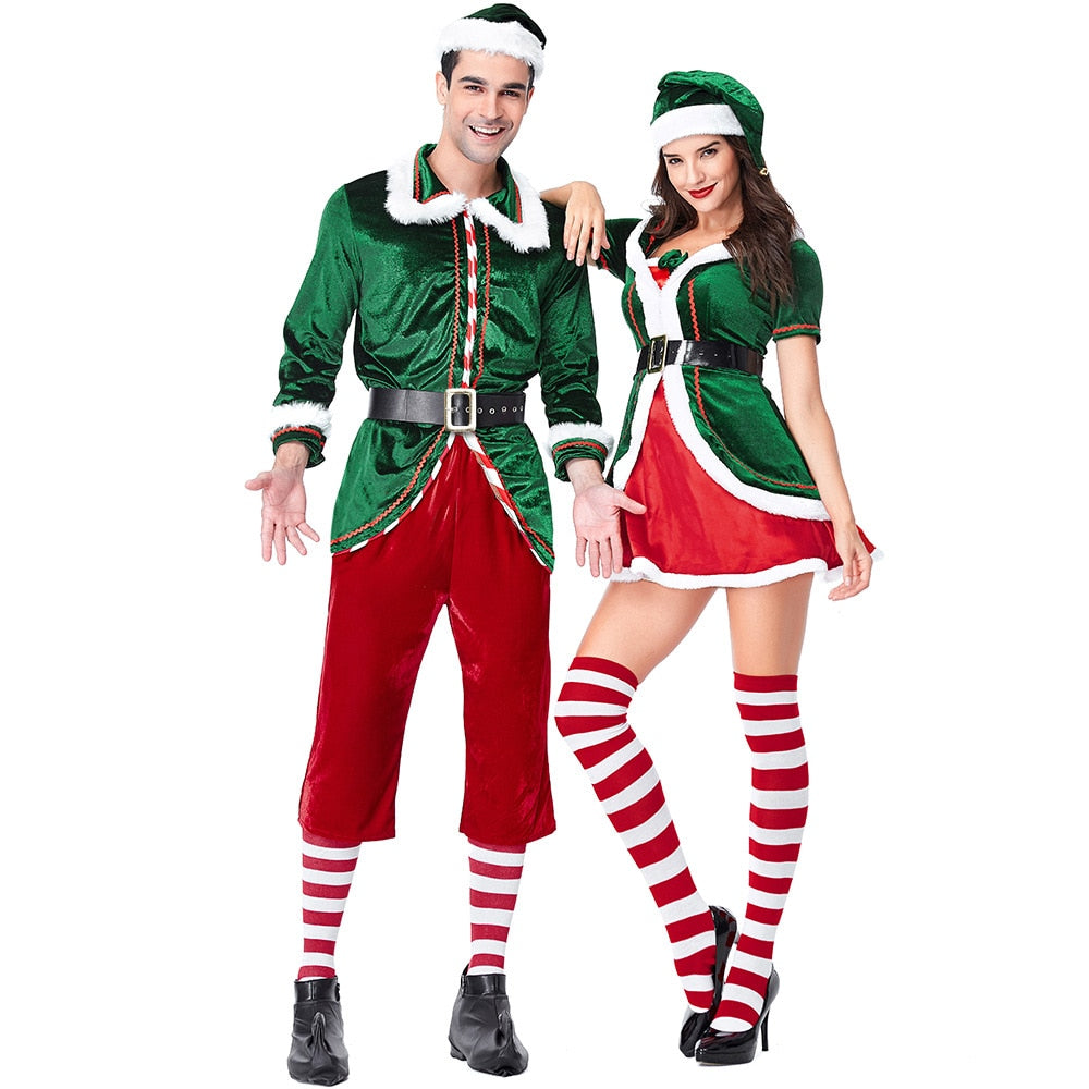 Velvet Lovers Green Spirit of Christmas Elves Costumes For Woman and Man Christmas Party Cosplay