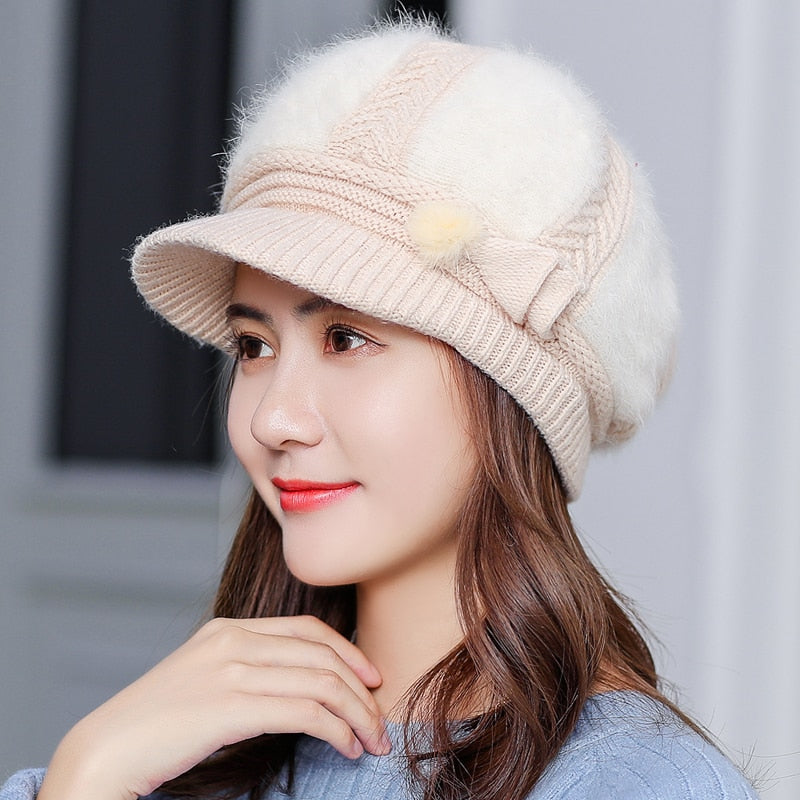 New Adjustable Winter Women Rrabbit fur ball cap winter hat girl knitted hats skullies beanies brand new thick female cap
