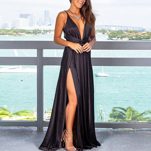 Women Party Dress Ladies Beach Summer A Line Casual Fashion Sexy Elegant Cocktail Solid Color Deep V Neck Split Dress