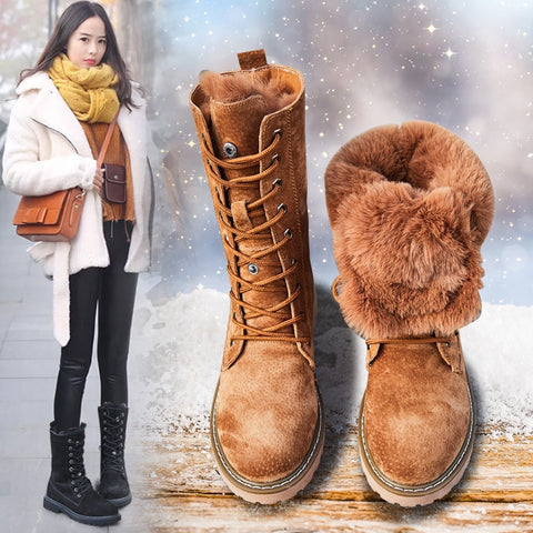 Genuine Leather Women Winter Boots Thick Wool Warm
