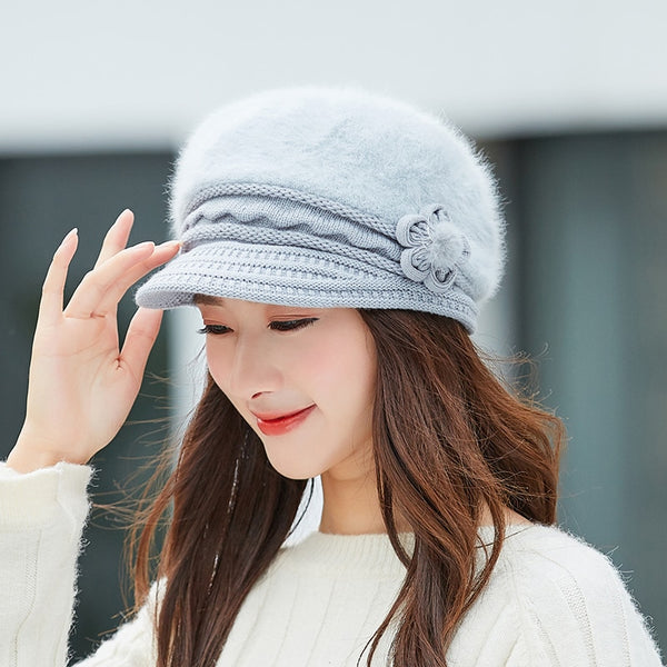 Hot Women Rabbit Fur Knitted Hats Casual Solid Color Autumn girls Winter Hat Female Bonnet Caps Boina Feminino