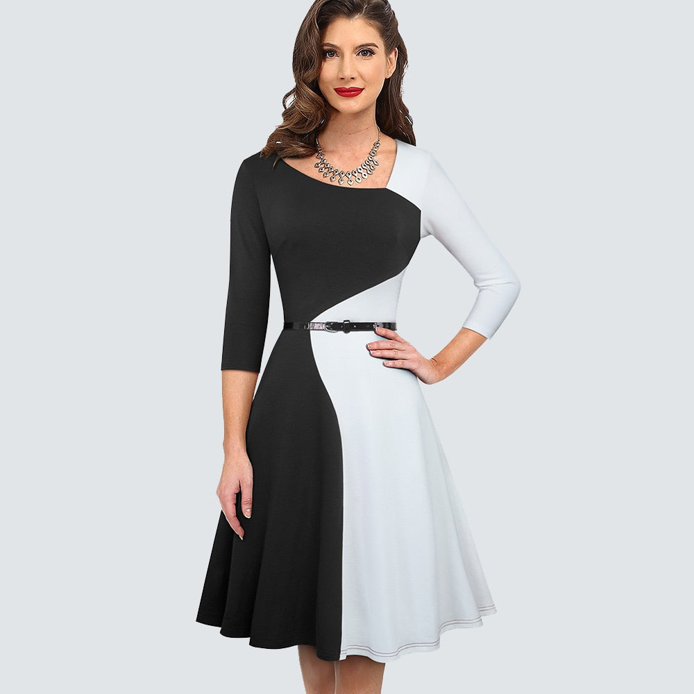Women Contrast color Vintage Party Flare Dress Asymmetry Elegant Chic A line Dress HA178