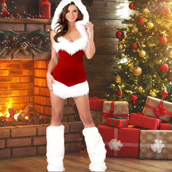 Fashion Adults Christmas Women Costumes Suit Slim Santa Claus Cosplay Costume Dress Xmas Party Fancy Dress