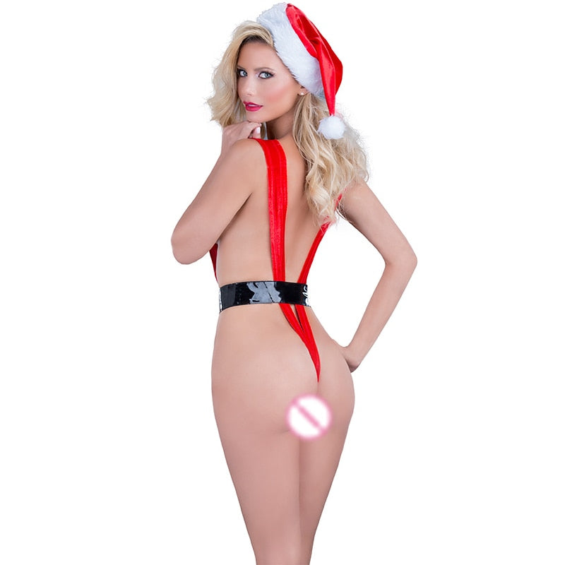 HKMN Christmas Erotic Underwear For Women Bondage Lingerie Mesh Sexy Costumes Red Sexy Costumes Crotchless Baby Doll Cosplay Set