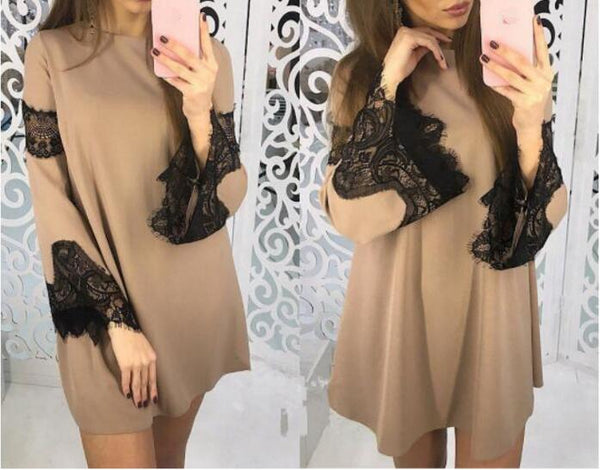 Winter Women lace dress long sleeve tunic party 2019 New year Christmas Vestido Swing Dress Female Clothing