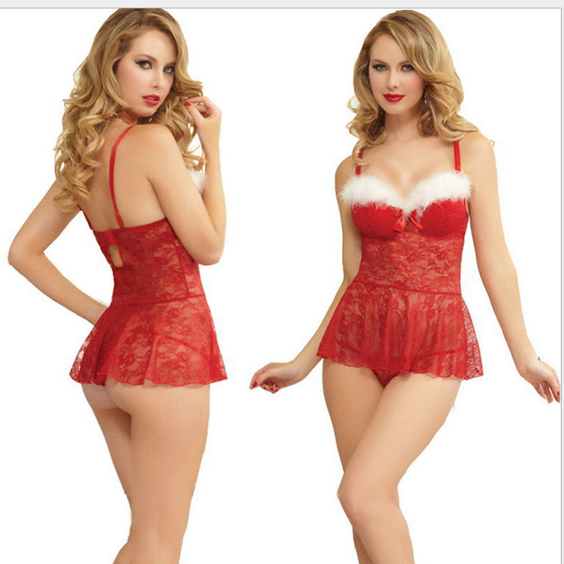 Meihuida Sexy Lingerie Babydoll Set Women Santa Fancy Dress Costume Cosplay Outfit Christmas Underwear Erotic Sex Costume