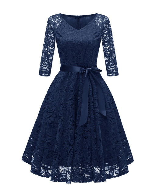 Women Formal Lace Dress V Neck 3/4 Sleeve Girl Prom Evening Party Women Wear Fashion Homecoming Juniors Dress