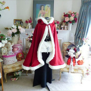 Christmas Cloak New Fashion Winter XMAS Red Velvet Santa Claus Deluxe Cloak Cape with white Fluffy Trim Cosplay Robe Costume