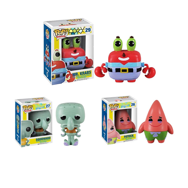 Funko pop!! NEW SQUIDWARD PATRICK  Mr. Krabs Model PVC Collection figure Toys For birthday Gifts