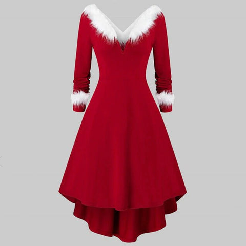 Christmas  Dress Adult Costume Fancy Dress Xmas Red Clothing Xmas Dresses Women Evening Party Clothes Winter Warm Dresses#g3