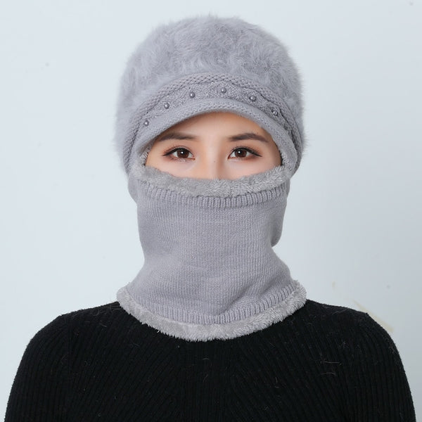 Winter Hats Skullies Beanies Mom Hat Beanies For Women Wool Scarf Caps Balaclava Mask Gorras Bonnet Twist stripes Knitted Hats