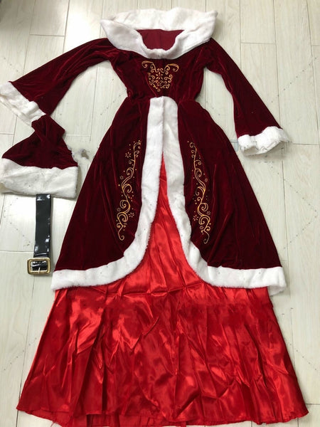 Plus Szie Christmas Costume Unisex Cosplay Santa Claus Red Velvet Cosplay Clothing Holiday Party Show Game Classic Xmas Uniform