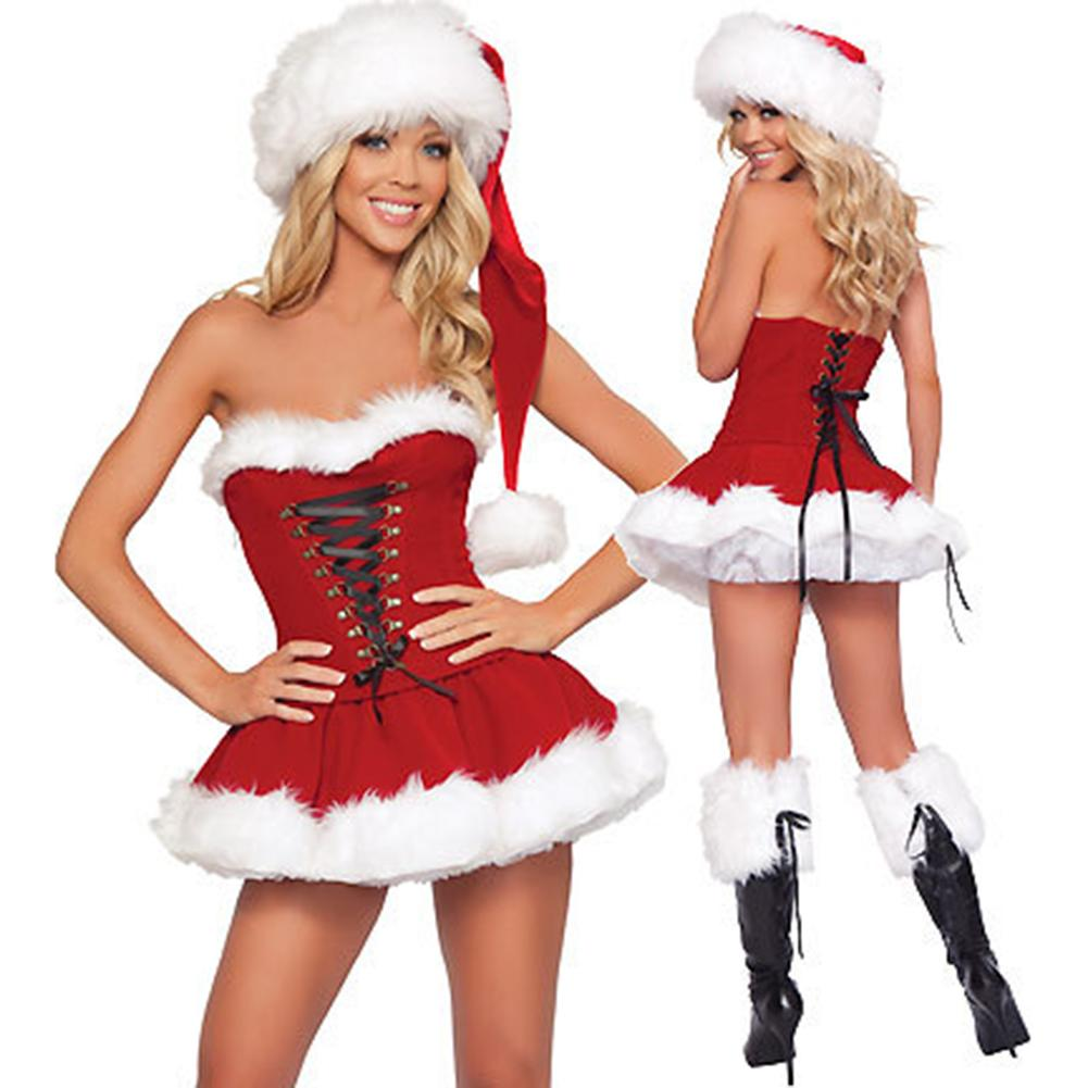 Adults Women Slim Fit Sexy Christmas Suit Costume Red Dress And Hat Cosplay Party Fancy Dress For Christmas Halloween
