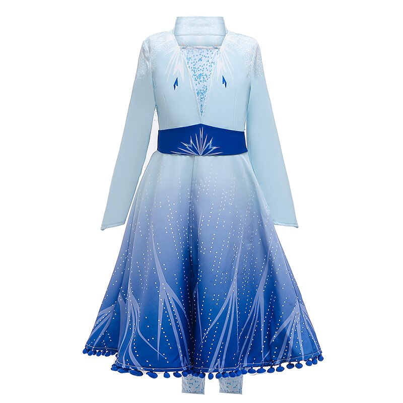New Dress For Girls Clothing Frozen 2 Elsa Princess Set Christmas Cosplay Elsa Birthday Party Sky Blue Princess Dress 2019