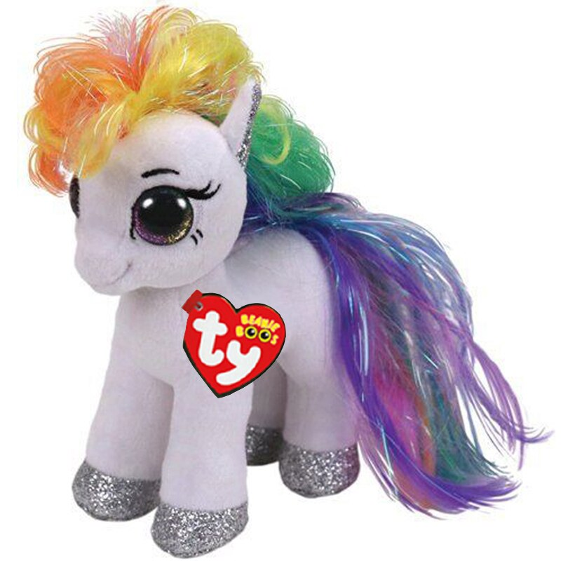 "Ty White Horse with Rainbow Hair Plush Doll Toys With Original Tag 6"" 15cm"