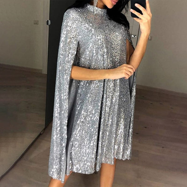 Women's Sequined Party Midi Dress Christmas Cloak Sleeves New Year Dresses Female Winter Loose Elegant Fashion Ladies Clothes
