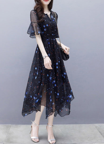 Women Midi Dress 2020 Sweet Star Print Dress Slim Fit Flare Sleeve V-neck A-line Kawaii Party Dress Vestidos de fiesta