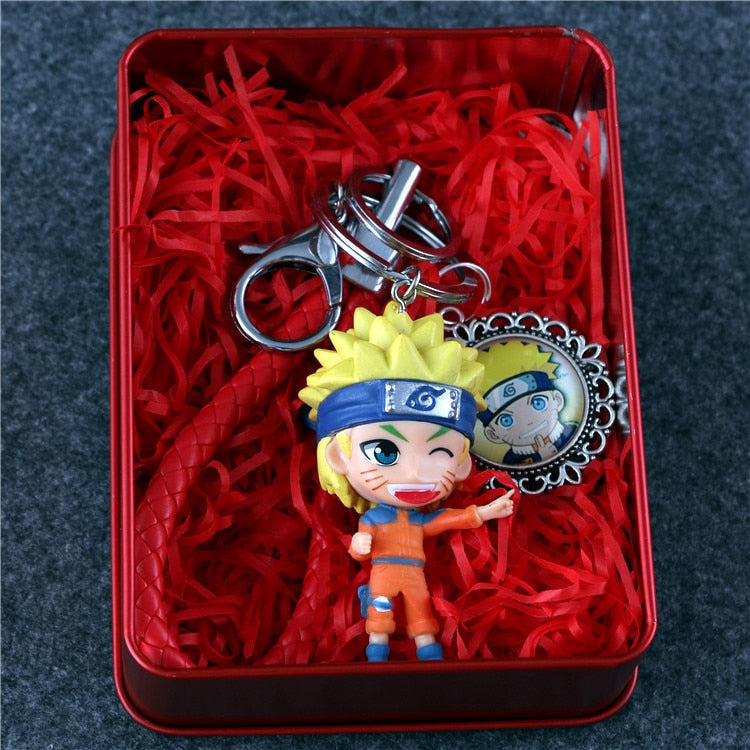 Anime Naruto Uzumaki Naruto Kakashi Sakura Sasuke Itachi Eight Tail Luo Q Time Ver. PVC Model Figure Collection toy 8cm Iron Box