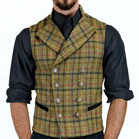 Vest 2020 Tweed Suit Men Vest Plaid Sleeveless Jacket Vests for Men Waistcoat Vintage Men's vest with Lapel gilet homme costume