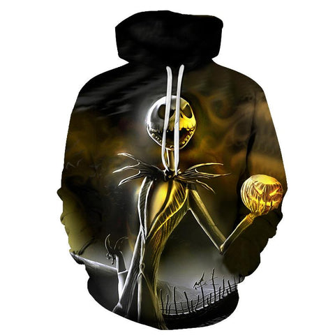 2018 Newest 3D Print Christmas Halloween Skull Theme Pullover Hoodies for Women/men Causal Loose Plus Size Sweatshirts Femme