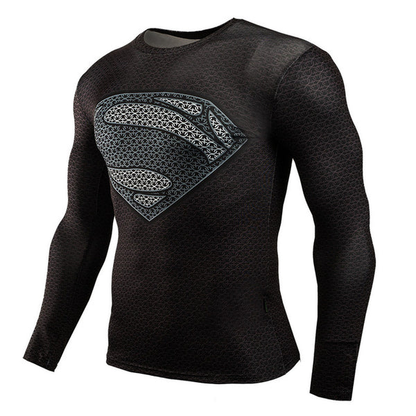 Men Crossfit Long Sleeve Compression Shirt 3D Anime Superhero Superman Captain America T Shirt Tights Fitness Men Tops & Tees