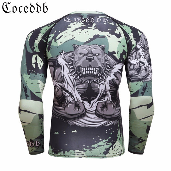 Men Compression T Shirts MMA Rashguard Keep Fit Fitness Long Sleeves Base Layer Skin Tight Weight Lifting Elastic BJJ T Shirts