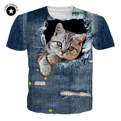 3D Naughty Cat T-shirt Men Women Casual Animal T Shirt Brand Clothing Summer Short Sleeved Breathable Tshirt Plus Size Tops Tee