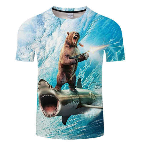Shark 3D Bear T shirt Men t-shirt Funny tshirt Groot Tee Streatwear Tops Summer Camiseta Short Sleeve Unisex DropShip ZOOTOPBEAR