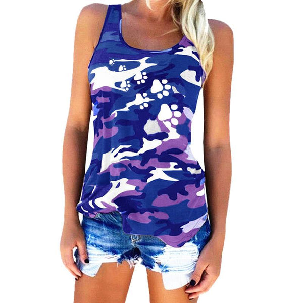 2018 New Fashion Camouflage Dog Paw Print T-Shirt Women  Sleeveless Tshirt Top Femme Funny Tumblr Kyliejenner