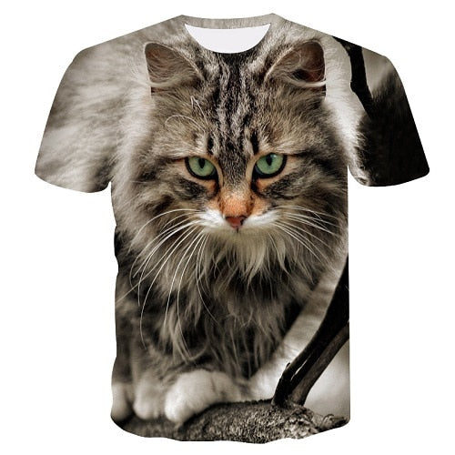 Cat look for side 3D printed tshirt women  casual fun T-shirt women's tops T-shirt fashion Tumblr Drop Ship size  women tshirt