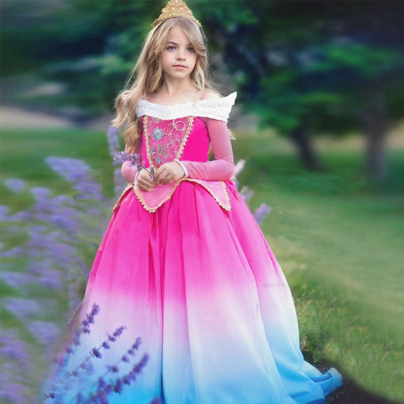 Kids Party Dress for Girls Costume Long Sleeve Princess Dress Baby Girl Clothes Children Vestidos Toddler Girls Dresses 3-12Y