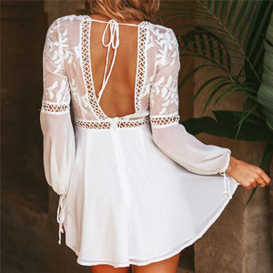 2019 Women Summer Beach Dress Sexy V Neck Open Back Lace Up Ruffles Lace Hollow Out Mini Dresses Casual White Dress Vestidos