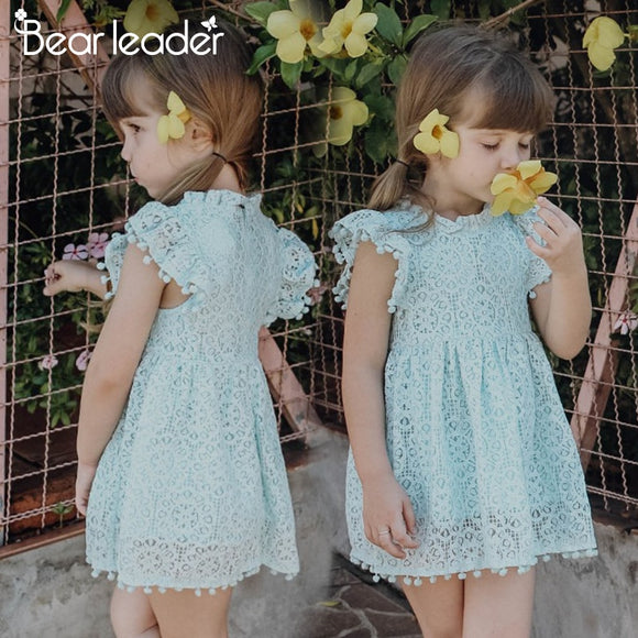 Girls Dress 2018 New Summer Brand Girls Clothes Lace Petal Sleeve Design Baby Girls Dress Party Dress For 3-7 Years