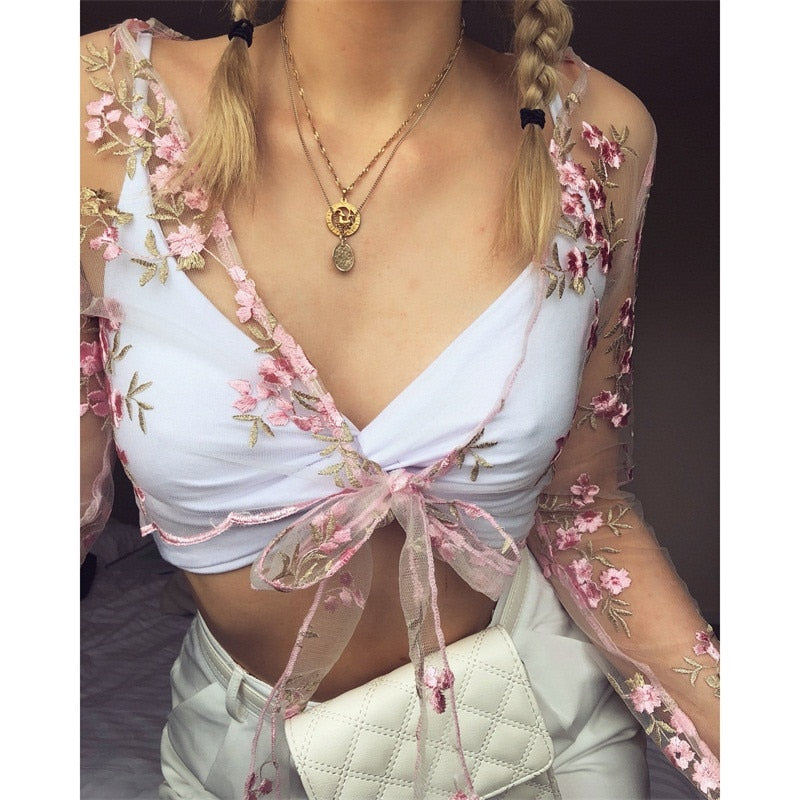 Summer Women Shirts Fashion Transparent Embroidery Lace Up Bandage Pink Floral Crop Tops Blouse Ladies Flower Bandage Clothes