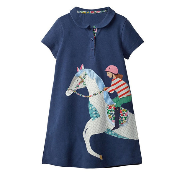 Baby Girl Clothes Unicorn Dress Animal Applique Kids Party Dresses for Girls Costume Princess Dress Cotton Tunic Girls Dress