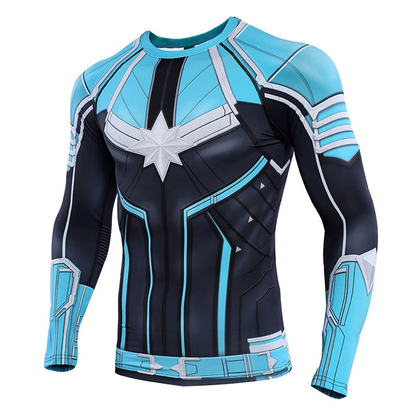 Captain Compression Shirts 3D Printed T shirts Men Raglan Sleeve 2019 Long Sleeve Pattern Tops Male Comics Cosplay Costume Cloth